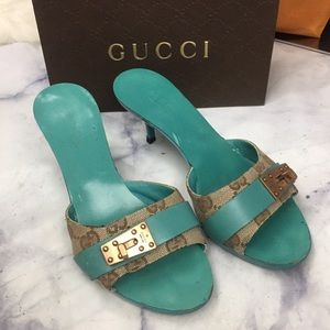 GUCCI GG teal sandals eu35 with copper hardware
